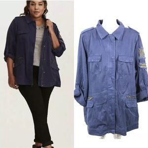 TORRID Beaded Stretchy Twill zip Shirt Jacket
